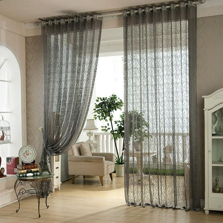 2 Panel Jacquard Window Screening Sheer Curtains Bedroom Living Room Home  Decor 4 Colors