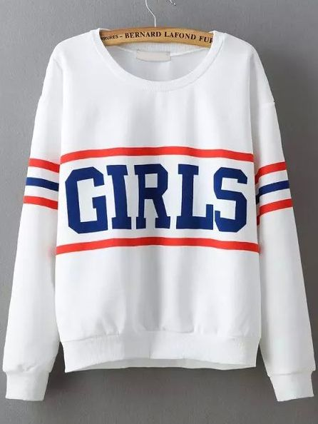 sweat-shirt motif GIRLS col rond -blanc 18.64