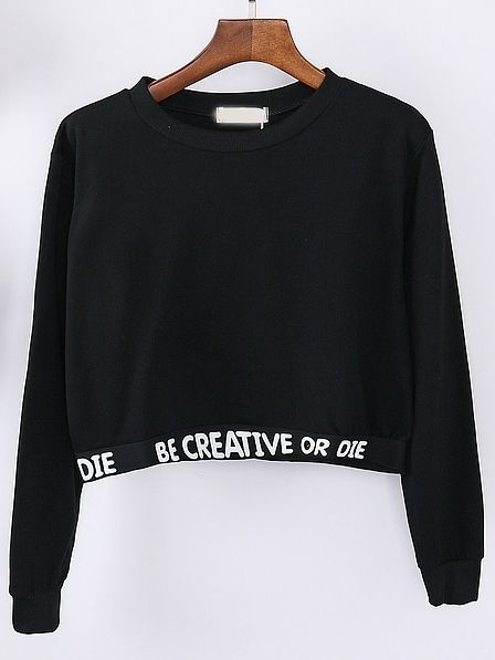 14$ Buy here - http://diuvj.justgood.pw/go.php?t=841 - Black Letter Print Crop Sweatshirt