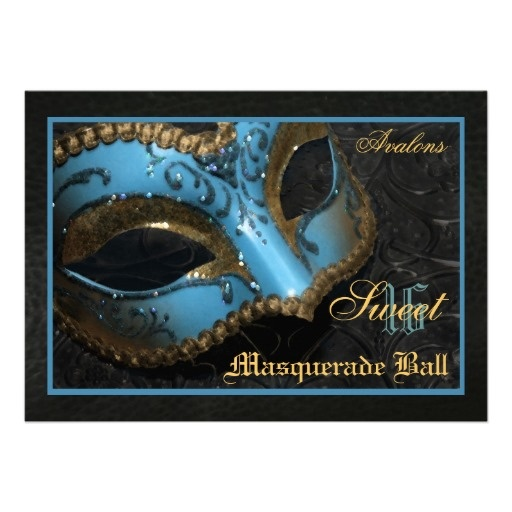 Teal Mask Masquerade Sweet 16 Party Invitation