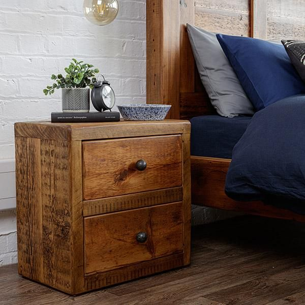Beam Reclaimed Wood Bedside Table Double Drawer Reclaimed Wood Bedside Table Reclaimed Wood Bedside Wood Bedside Table