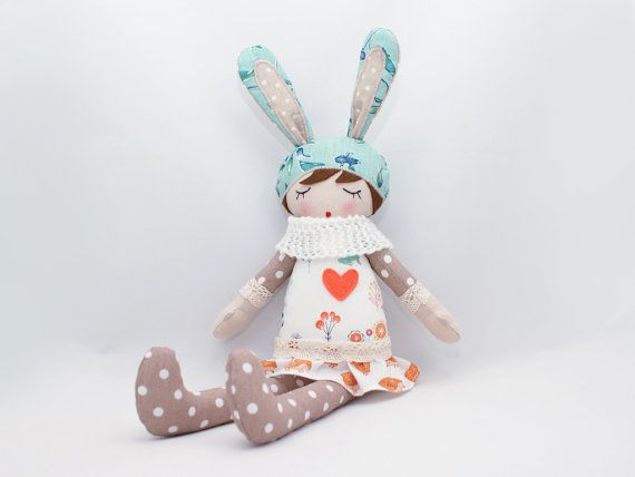 Jagodka  Rag doll Soft doll Sleepy doll Handmade by PatchworkModa