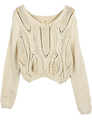 PrettyGuide Women's Long Sleeve Eyelet Cable Lace Up Crop Top -- Be sure to check out this awesome item.