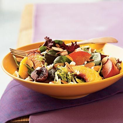 Stone Fruit Salad with Toasted Almonds  RECIPE FROM: COOKING LIGHT  Almond oil adds subtle nutty flavor to the dressing. You can use olive oil, if you prefer.