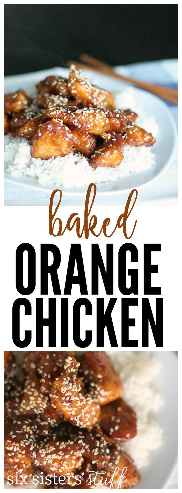 This Baked Orange Chicken from SixSistersStuff.com is AMAZING!