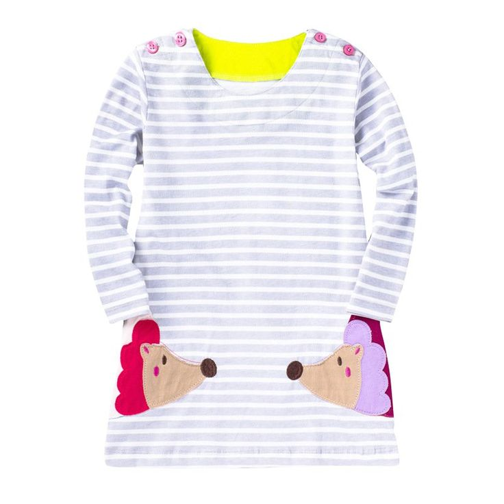 Kids Clothes Girls Cartoon Dress Applique Animal Embroidery Long Sleeve  Dress Kids Princess Baby Girl Solid