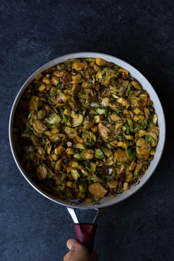 This Sweet & Savory Brussels Sprout Skillet is a super simple 30 minute brussels sprout dish that's perfect as a side! Naturally vegan and gluten free!
