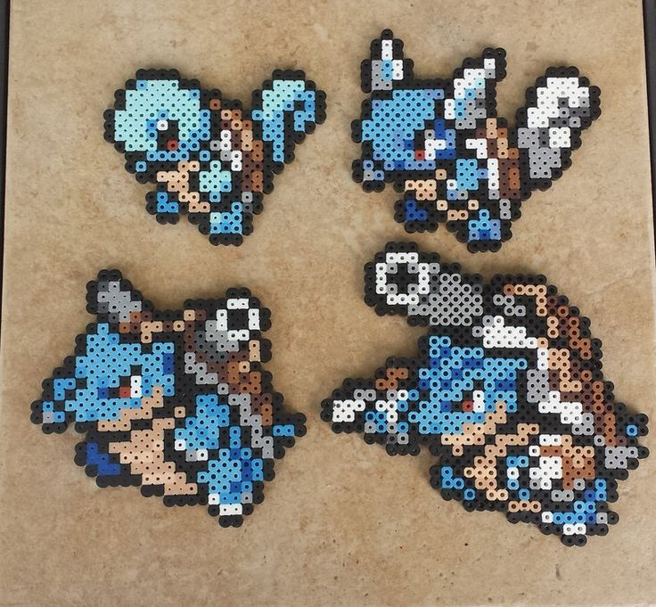 Squirtle Family - Pokemon Perler Bead Sprite Set by MaddogsCreations