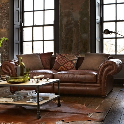 Distressed leather lounge suite -must have!