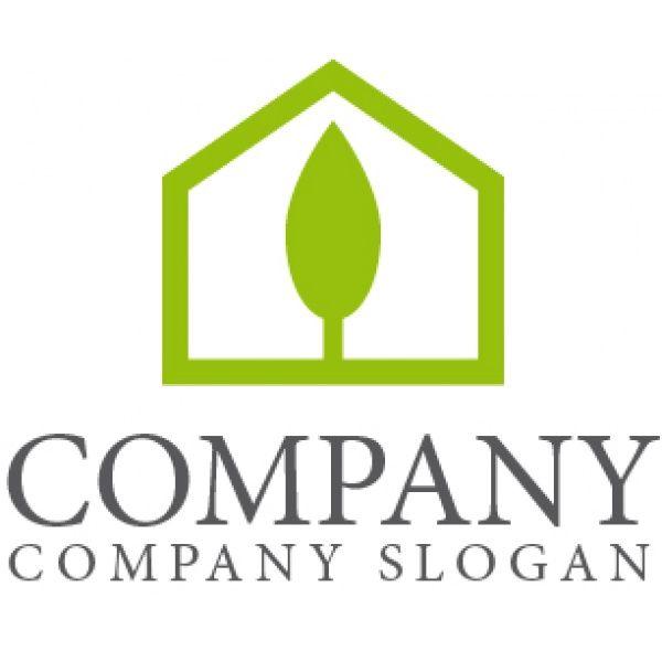 家 木 五角形 緑ロゴ マークデザイン262 家のロゴ ロゴ ロゴ