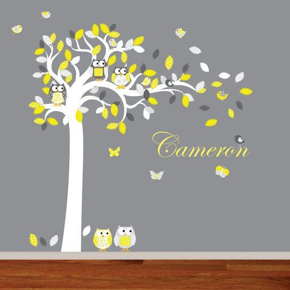 Nursery Wall Art Yellow and Grey Vinyl Tree Set by wallartdesign