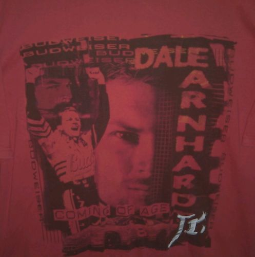 Dale Earnhardt Jr Budweiser Coming Of Age Red XL T-Shirt 100% Cotton Chase