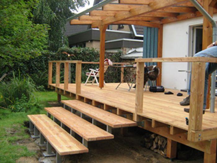 Erhöhte Holz Veranda Mit Überdachung Erhöhte Terrasse