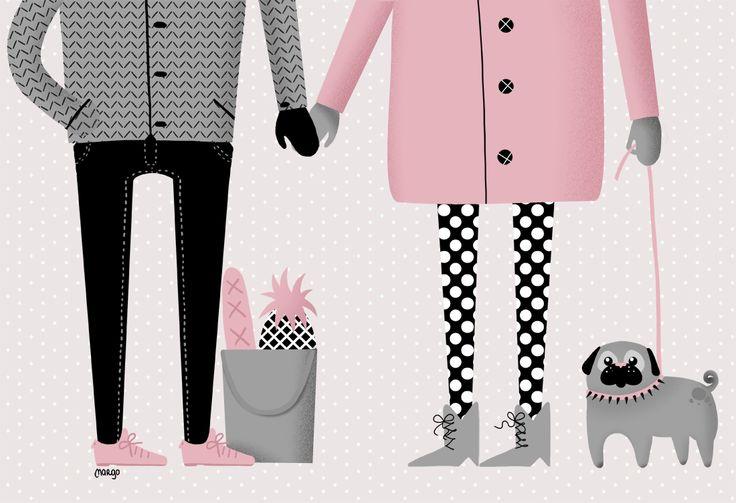 Illustration by Margo Dumin  www.margodumin.com  pug, pink, black, grey, pineapple, couple, retro, vintage, illustration, draw, drawings, poster