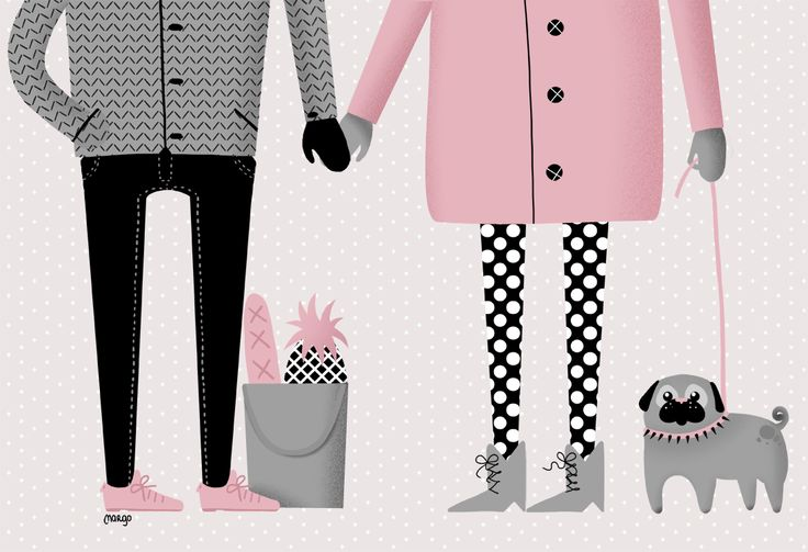Illustration by Margo Dumin  www.margodumin.com  pug, pink, black, grey, pineapple, couple, retro, vintage, illustration, draw, drawings, poster