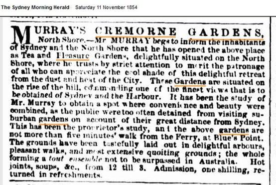 ad for Cremorne Pleasure gardens in the SMH