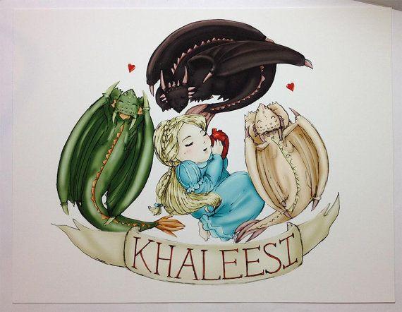 Game of Thrones Lil Baby Khaleesi Print by sketch123 on Etsy