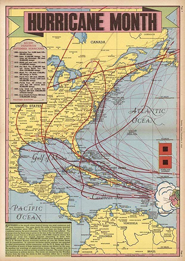 Maps Of Hurricane : hurricane, Historic, Hurricane, Month., Antique, Vintage, Reprint, Maps,, Historical