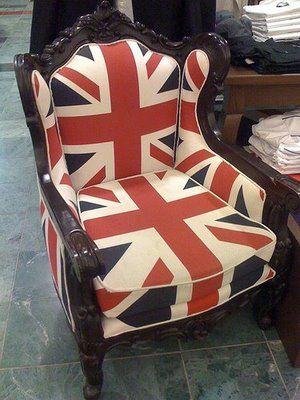 Union jack wingback armchair.