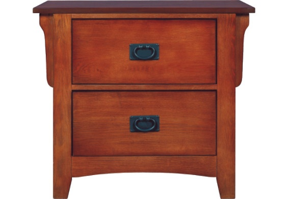 Mission Style Oak Finish 2 Drawer Nightstand 1030 Nt