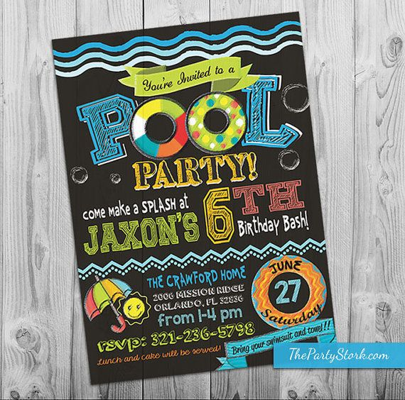 Swimming Pool Party Invitation by The Party Stork. Printable DIY Boy or Girl Pool Party Invite. Chalkboard Style. YOU print your birthday invitations.  Invite is 5 x 7. ========================================================== ►Format:  Invitation will be sent in JPG format. If you require a PDF or two invites in PDF, please request this after the digital invite is received.  ►How to Order:  1. Choose your Invitation design and purchase via PayPal or major credit card.  2. Please include in…