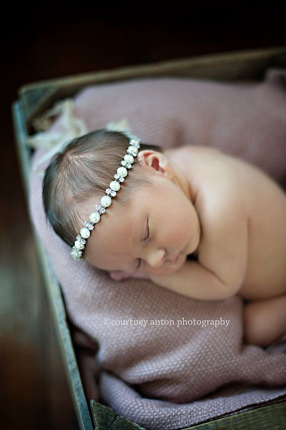 MOVING SALE - NEW The Olivia - Rhinestone and Pearl Tieback - senior photo prop, any age photo prop, newborn photo prop, toddler photo prop