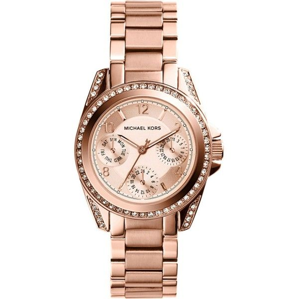 Michael Kors MK5613 Mini Blair rose-gold toned stainless steel watch (1.550 DKK) ❤ liked on Polyvore featuring jewelry, watches, evening jewelry, dial watches, michael kors, chronograph watch and holiday jewelry