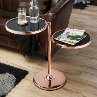 Furniture of America Cara Contemporary Round 2-shelf Motion Glass Metal End Table