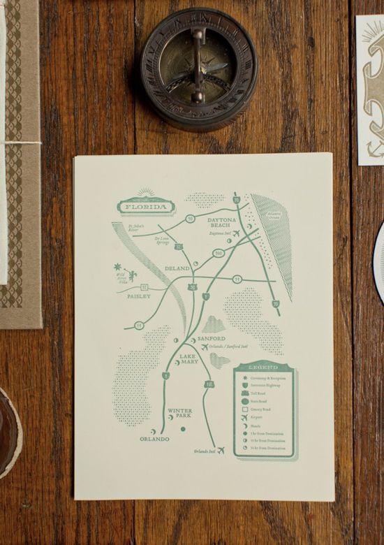 stylized map enclosure for wedding invitation / mama's sauce