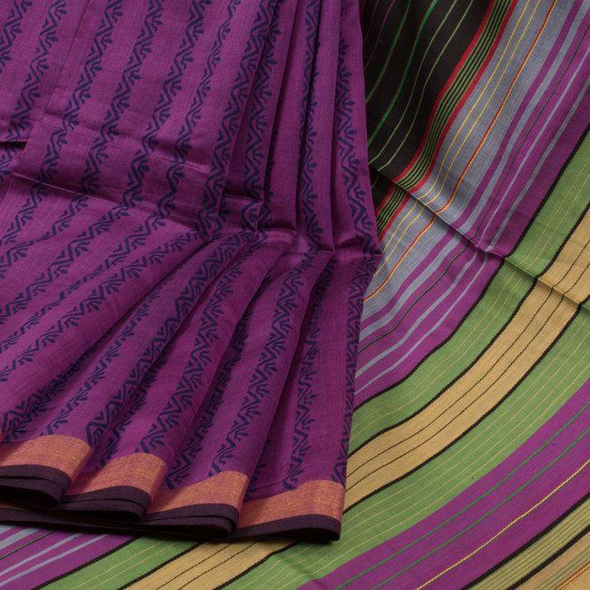Buy online Hand Block Printed Purple Chandrima Silk Cotton Saree With Floral Motifs, Zari Border & Jacquard Pallu 10014252