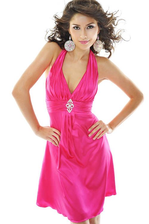 Cheap plain pink dress