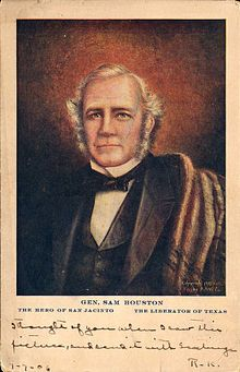 Sam Houston 1793-1863 first President of the Republic of Texas after defeating Mexico at San Jacinto.