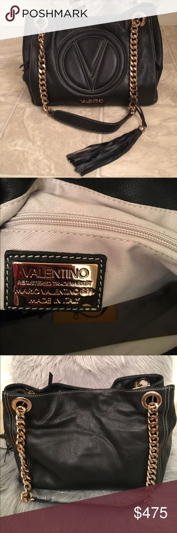VALENTINO LUISA 2 VALENTINO MARIO LUISA 2 in like new gorgeous condition. Black leather. Stunning for the Holidays 🎅🏻🎁🌲☃️🎉🍾🥂 Valentino Bags