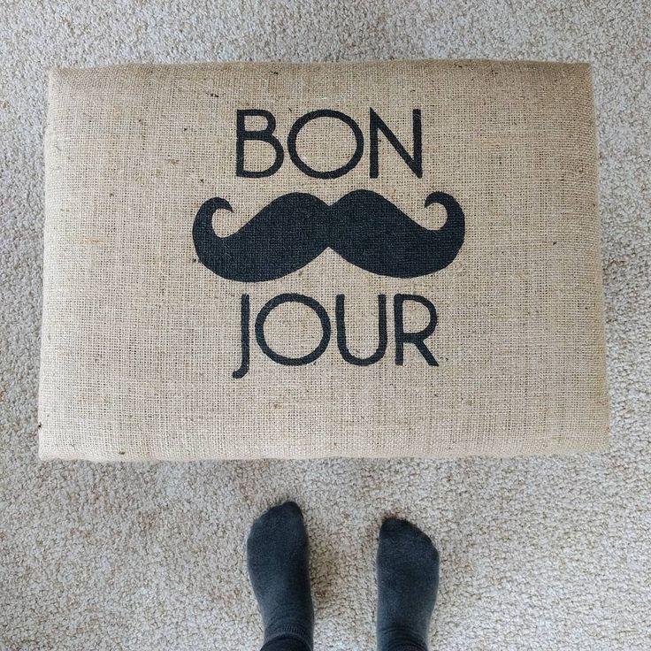 Hello! 😊 #stencil #freezerpaperstencil #customization #chalkpaint #burlap #doityourselfproject