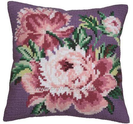 Buy Rose Chou Cushion Front Chunky Cross Stitch Kit Online at www.sewandso.co.uk