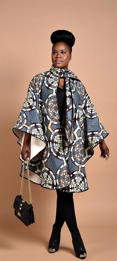 Rahyma Fifty-Grey Poncho. Luxury has arrived with this comfortable Unisex African print Poncho, fully lined with cashmere to   keep you warm.  Wear it over a coat or a sweater   Its edges are Trimmed with Pleather, A perfect gift for Valentine. Ankara | Dutch wax | Kente | Kitenge | Dashiki | African print dress | African fashion | African women dresses | African prints | Nigerian style | Ghanaian fashion | Senegal fashion | Kenya fashion | Nigerian fashion (affiliate)