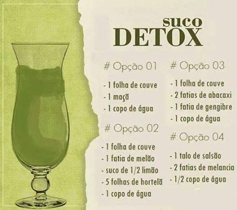 Boas receitas de sucos detox.