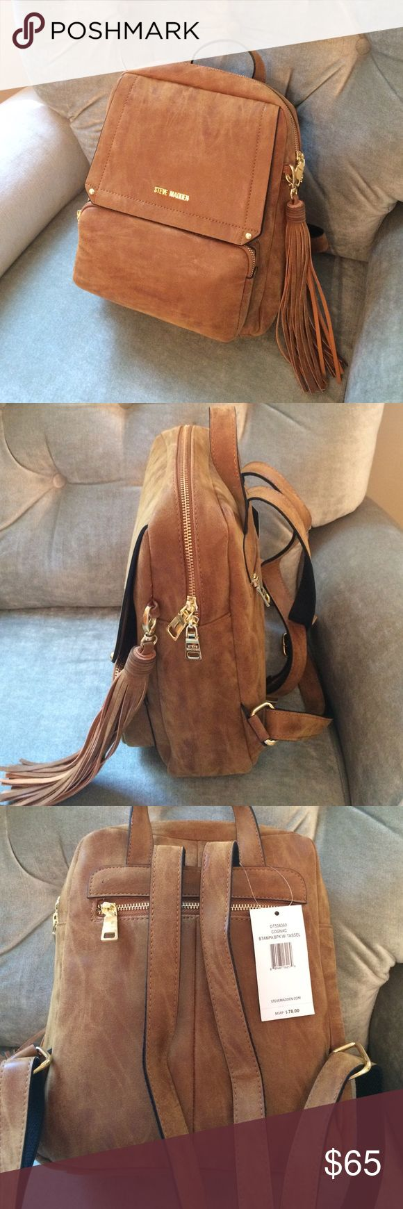Steve Madden Cognac Tampa Backpack Small Backpack with two front pockets, adjustable straps and gold detailing. Suede-like material. Brand new with tags. Fringe Tassel Detail, back zippered pouch. Steve Madden Bags Backpacks