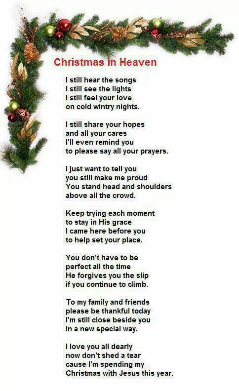 Christmas Prayer From Heaven Never Forgotten Pinterest