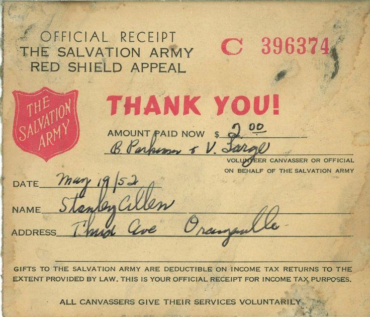 salvation army receipt