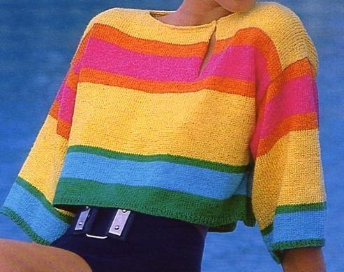 [Tricot] Le pull-brassière multicolore - La Boutique du Tricot et des Loisirs Créatifs