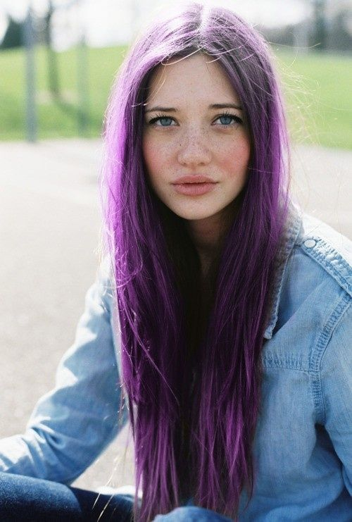 Long purple hair - purple hair like this suits a cool skin tone and makes for a unique style choice...