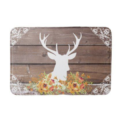 Chic Antique Rustic Barn Wood Deer Antlers Bath Mat - home gifts ideas decor special unique custom individual customized individualized