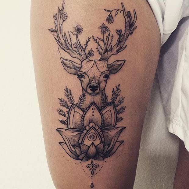 Mandala Deer and Lotus Thigh Tattoo Idea
