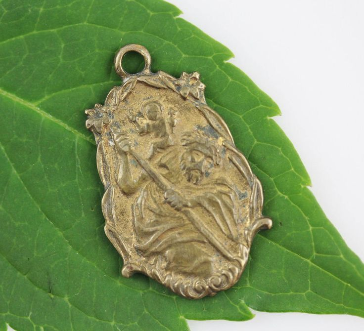 Vintage Brass St. Christopher Medal - Travel Protection Amulet - Antique Weathered Worn Brass Medal for Jewelry or Auto Rosary (SD591) by SmallDevotionsSupply on Etsy