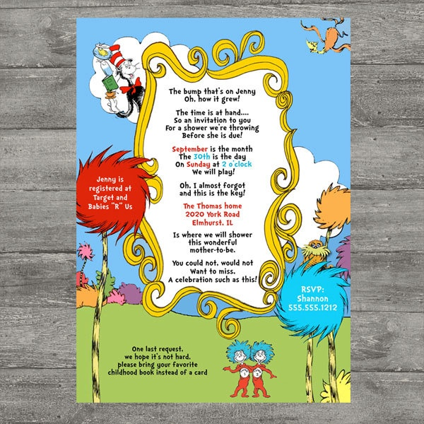 24 best dr. seuss baby shower images on pinterest | baby ideas, dr, Party invitations