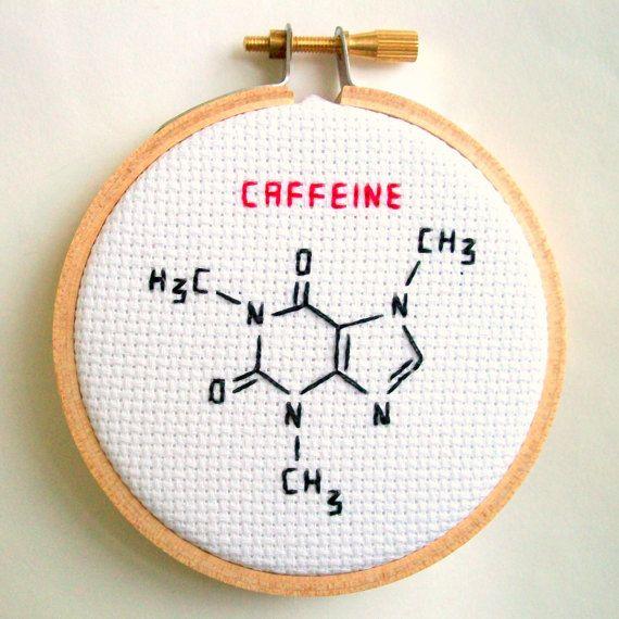 Caffeine molecule skeletal formula completed cross stitch