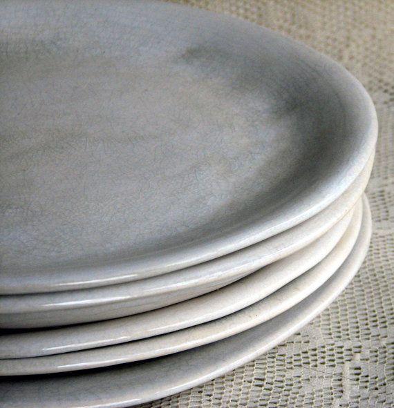 Handmade organic dinner plate set, white crackle dinner plates, stoneware, set of six, custom dinnerware by Leslie Freeman