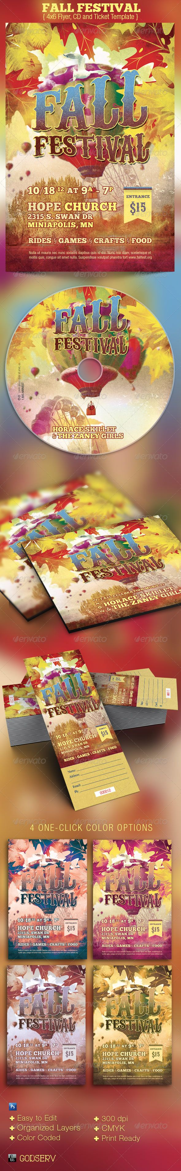 Fall Festival Church Flyer, CD and Ticket Template - $7.00: Templates Thanksgiving, Fall Festivals, Church Flyers, Ticket Template, Festival Church, Flyer Templates