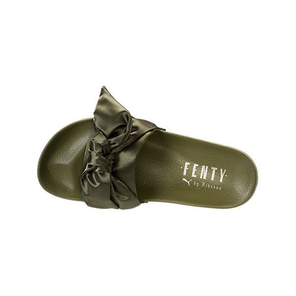 Women's Rihanna x Puma Fenty Bow Slide Sandals| Finish Line ($90) ❤ liked on Polyvore featuring shoes, sandals, puma footwear, bow shoes, slide sandals, puma sandals and puma shoes